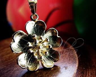 14k Gold Cherry Blossom Pendant-Sakura Yellow gold