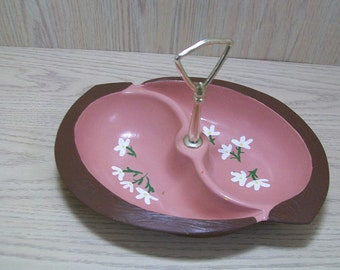 USA Candy Nut Dish with Silver Tone Handle 626