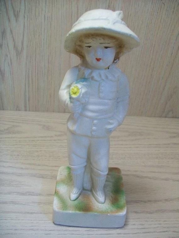 Chalk Ware Boy Fgurine Holding Flowers