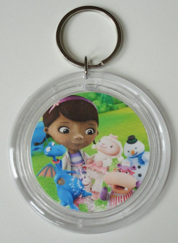Doc McStuffins Keychain Key Ring Party Favor Lambie, Hallie, Stuffy, Chilly
