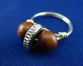 Wood Nut: Recycled Bicycle Presta Nut and Wood Bead Ring, Size 5