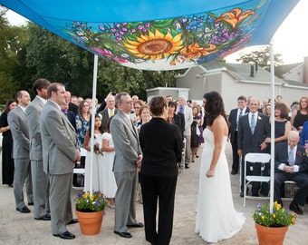 Chuppa Wedding Huppah Canopy Tent Judaica Hand Painted Silk Floral Summer Sunflower Lily Blue Gold Green Pink  Custom same sex interfaith