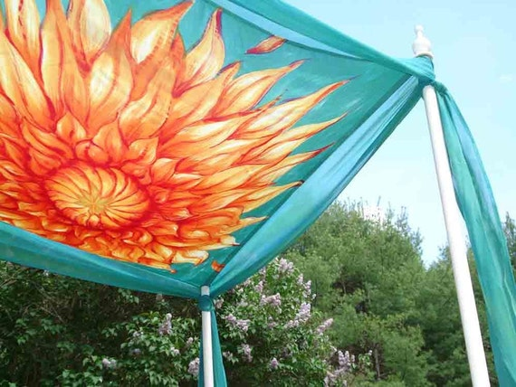 Hand Painted Silk Chuppah-Sunburst