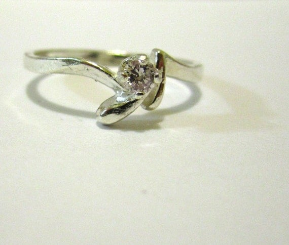 SALE - Pink Diamond and Sterling Silver Ring - Size 7