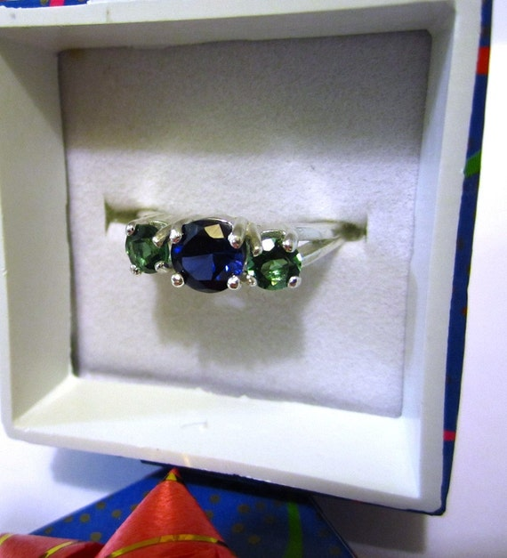 CLEARANCE - Blue Sapphire and Green Quartz Sterling Silver Ring - Size 7