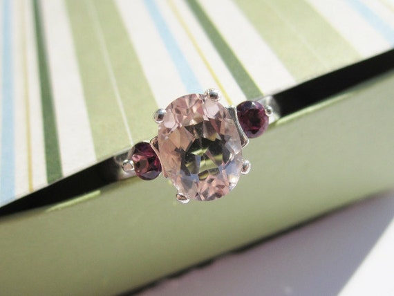 SALE - Natural Morganite and Tourmaline Ring - Size 7 - CobbledStone