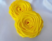 2 handmade roses ribbon flowers ribbon roses in bright yellow