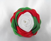 1 handmade roses ribbon flowers in white, red and green