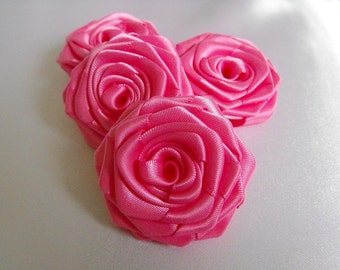 4 handmade roses satin ribbon flowers in hot pink