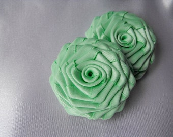 2 handmade roses ribbon flowers in mint green