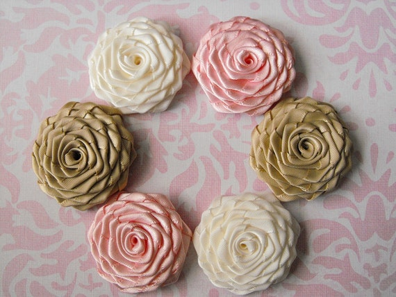6 handmade roses satin ribbon flowers in ivory, oatmeal, pale pink