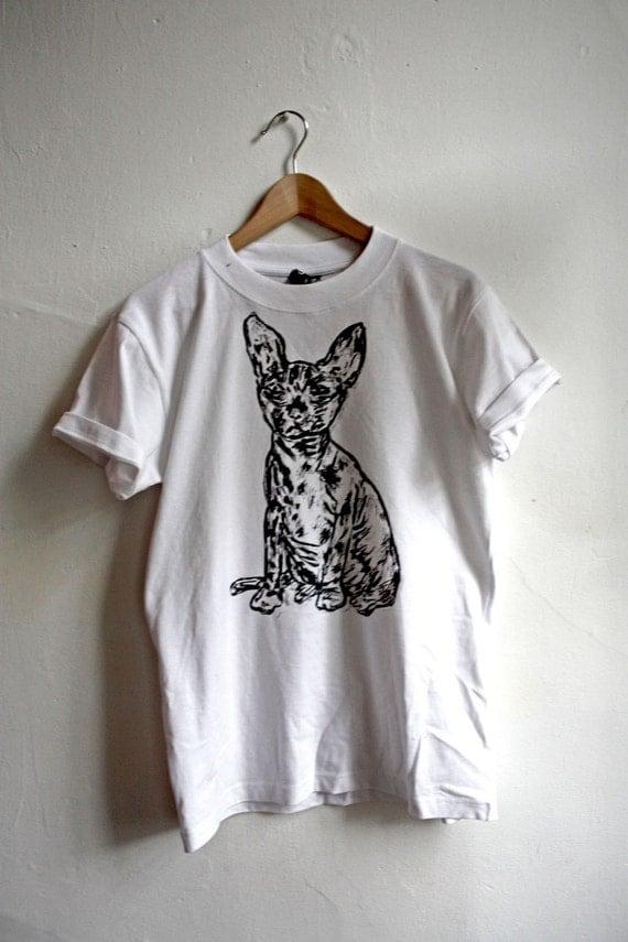 Sphynx Shirt - White - Black on Grey Ink - M