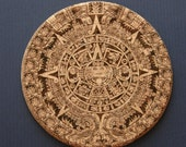Custom order for MeBornFree Eco-friendly laser engraved Aztec Calendar cork coasters with hardboard backing
