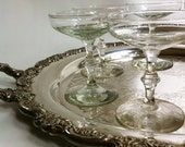 4 Champagne Coupe Glasses - Bamboo Stem