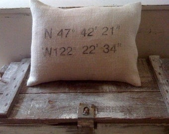 Map Coordinate Pillow with Insert