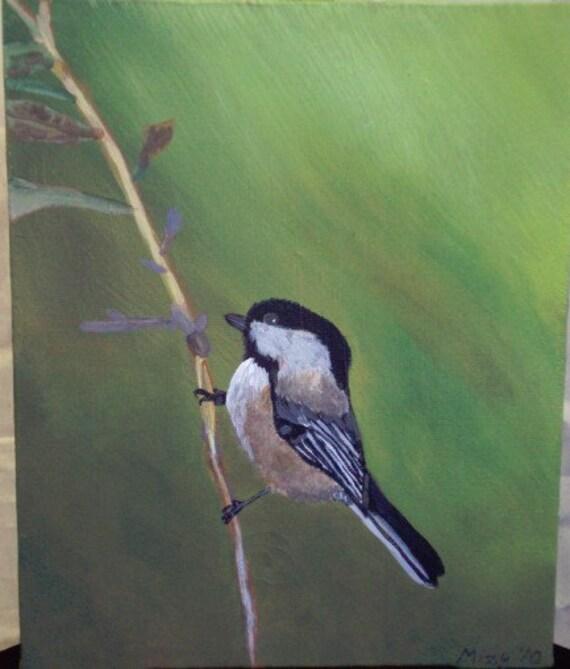8x 10 acrylic painting of chickadee on Spring branch