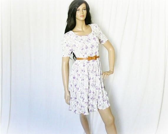 Vintage 90s Tea Floral Crinkled Babydoll Dress M White Lavender