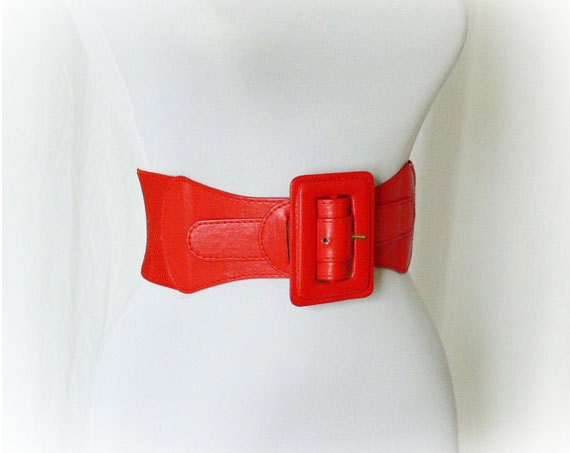 Vintage 80s Red Wide Stretch Elastic Belt XS S M Faux Leather