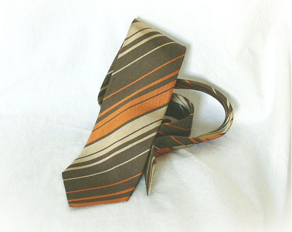 vintage 70s striped tie orange brown tan necktie tie