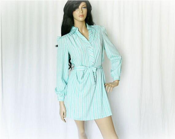Vintage 70s Dress M Upcycled Aqua Striped Belted