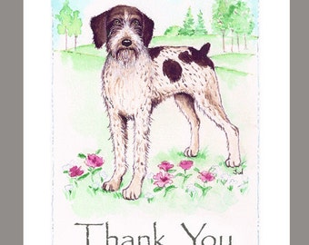 "German Wirehaired Pointer in a Field of Flowers & Trees, 16 Blank Note Cards, 5""X7"" with 16 white envelopes."