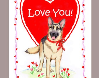 German Shepherd Dog Valentine Card