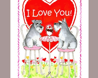 Schnauzer Valentine Card