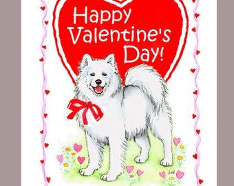 Samoyed Dog Valentine Card