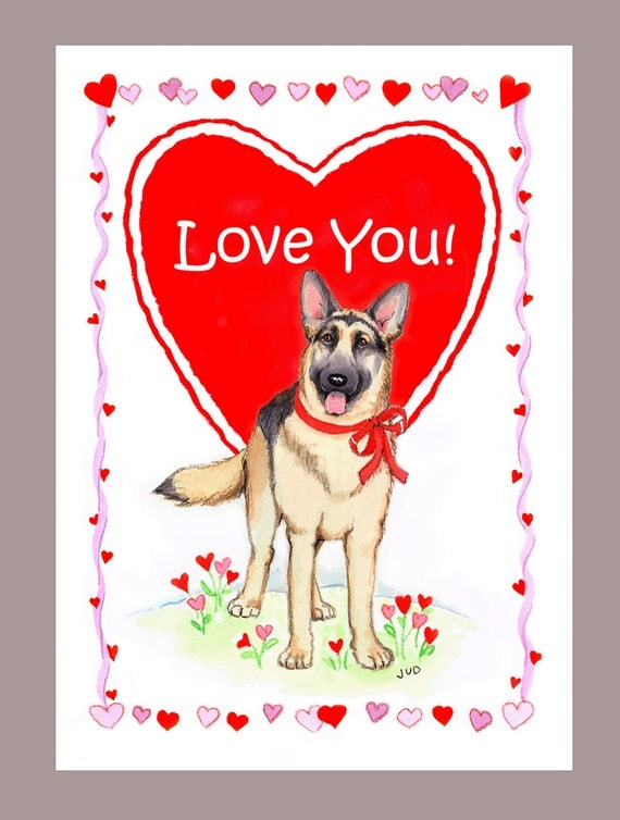 German Shepherd Dog Valentine Card – German Valentines Day Cards
