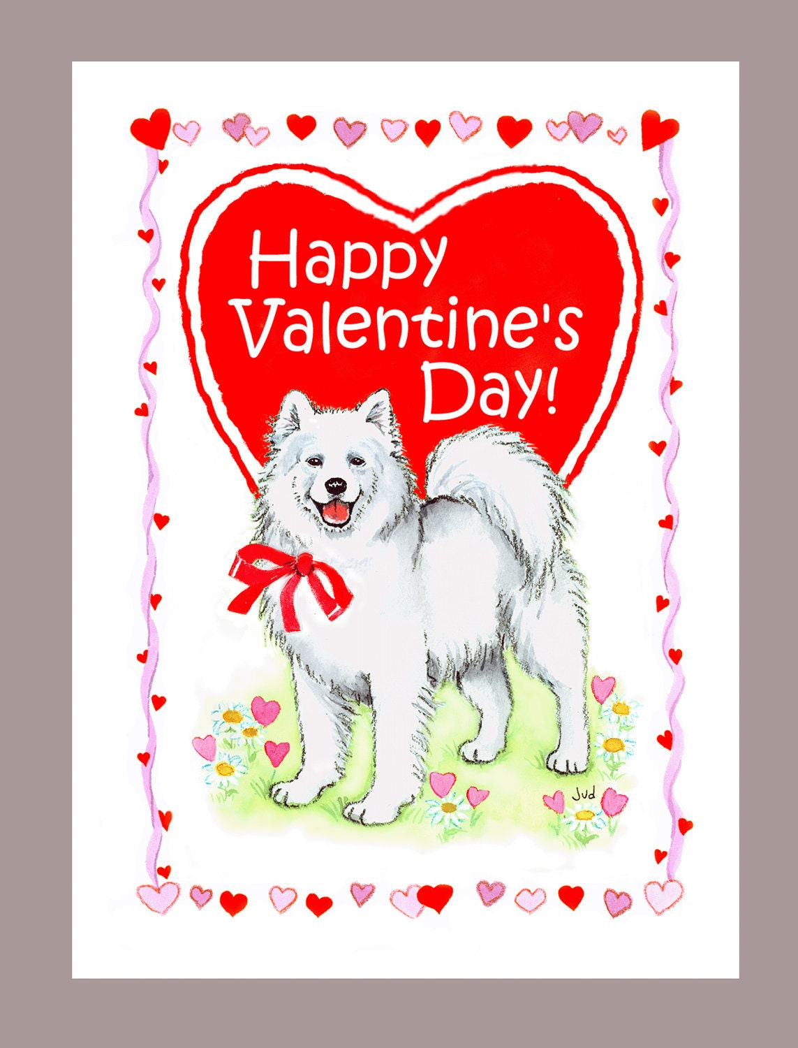 Samoyeds Dog Names Samoyed Dog Valentine Card