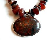 Beautiful Red and Black Agate Beaded Necklace --- Madeline's Jewelry Box
