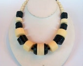 Off White and Black Necklace. Made with vintage beads. --- Madeline's Jewelry Box