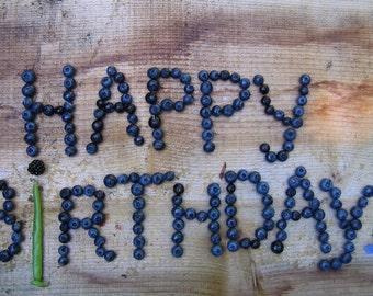 Happy Birthday Fresh Blueberries greeting card.