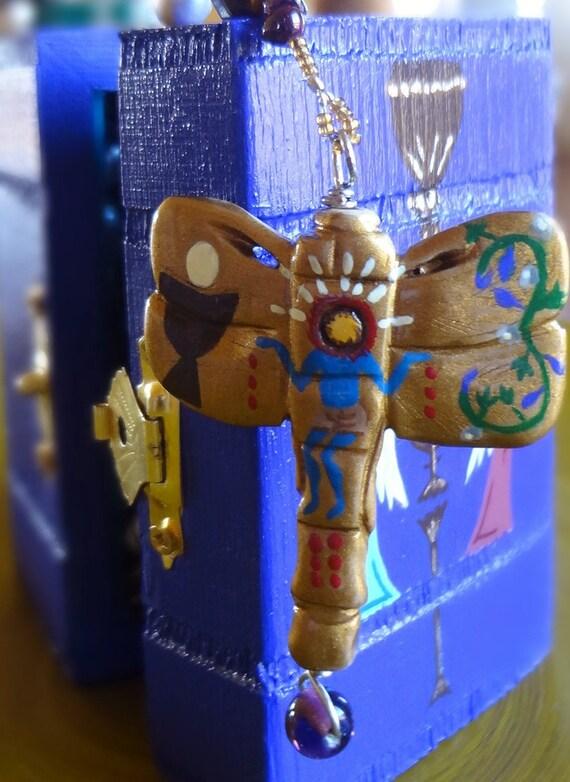 Handmade Catholic Rosary, Peacock Pearl, Tigereye, Mexican Retablo