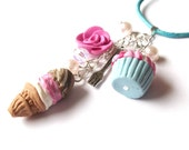 Funny Sweet Necklace ( mini food silver jewelry ice cream vanilla blue pink rose raspberry cupcake polymer clay fimo girl )