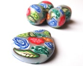 Handmade Polymer Clay Large Beads Focal Bead Flowers Roses Leaves Round Beads