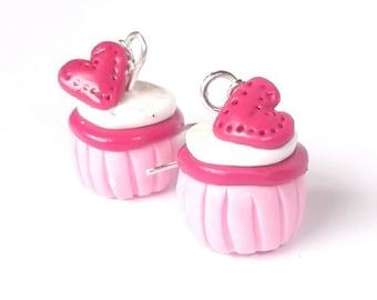 Pink Cupcake Earrings ( mini food jewelry cupcake jewelry polymer clay dessert earrings food earrings kawaii jewelry cute cupcakes )