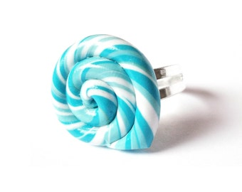 Blue Lollipop Ring ( polymer clay miniature food funky jewelry silver adjustable ring kawaii jewelry )