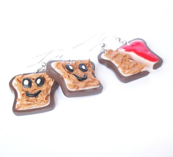 Earrings Peanut Butter and Strawberry Jelly Toasts Polymer Clay Earrings - 2 pairs, Kawaii Jewelry