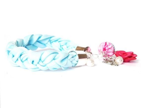 Blue Fabric Bracelet (braided jewelry  raspberry cupcake polymer clay pink rose girl women angel funky cute )