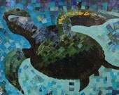 Turtle Gliding Silently Under the Sea Torn Paper Collage Poster
