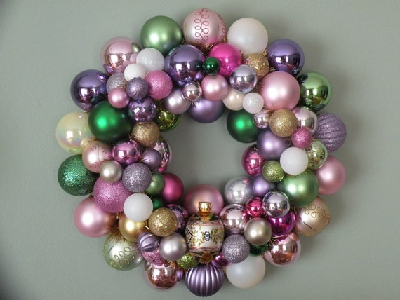 EASTER EGG Ornament Wreath--pinks greens