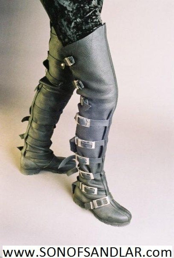 thigh high buckle boots steam