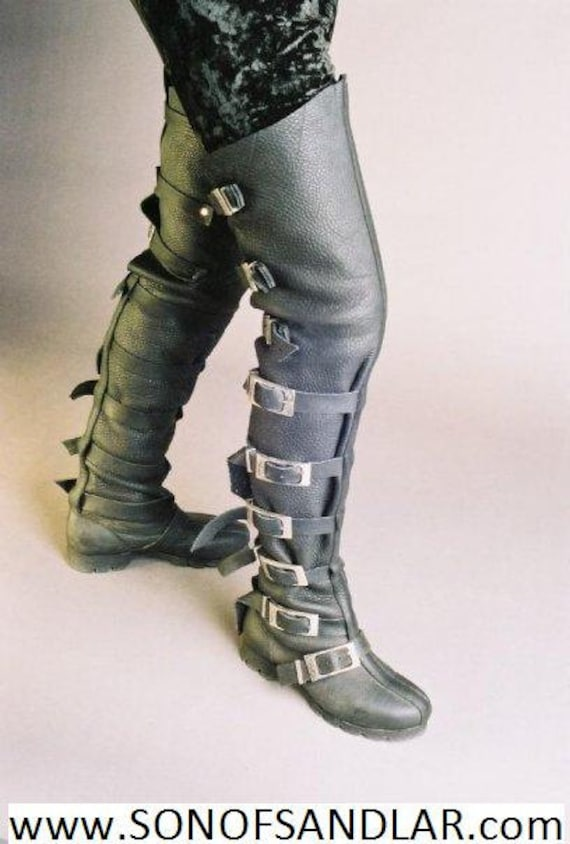 Thigh High Buckle Blue Boots SALE