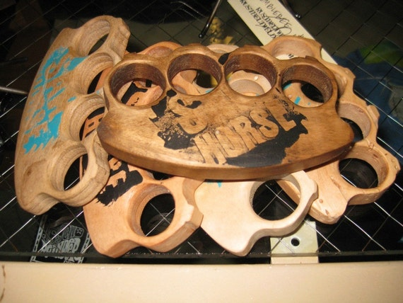 "Wooden ""brass"" knuckles"
