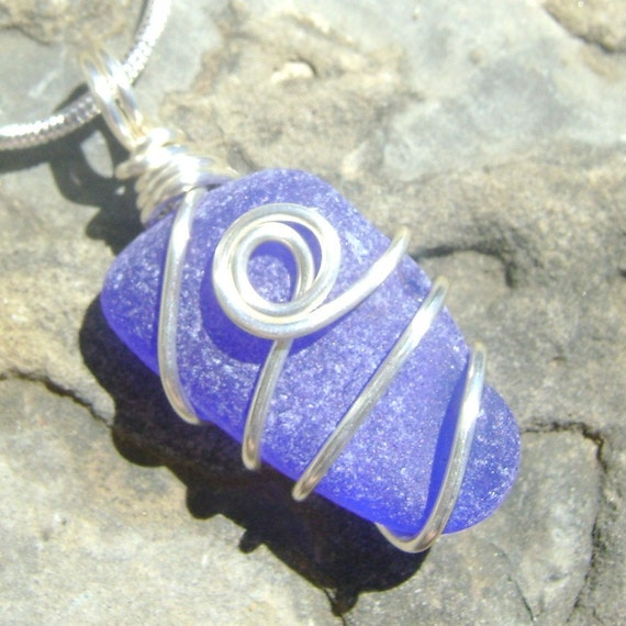 Beachglass - Seaglass Pendant - Beautiful Blue Gem