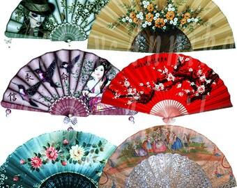 Digital Collage of Fans - 21 JPG images - Digital Collage Sheet