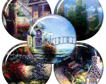 Beautiful landscape - 63 1x1 Inch Circle JPG images - Digital Collage Sheet