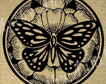 Butterfly on a flower -Digital Image Sheet Transfer to Fabric - 8.5x11 Inch JPG images