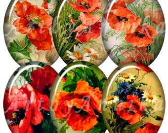 Digital Collage of Poppies Catherine Klein - 36 30 x 40mm JPG images - Digital Collage Sheet